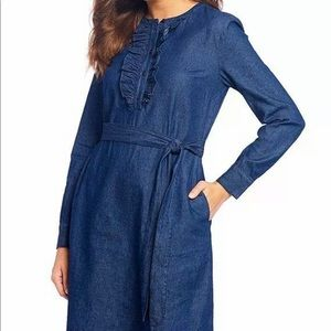 New Draper James Chambray Ruffle Placket Dress 0